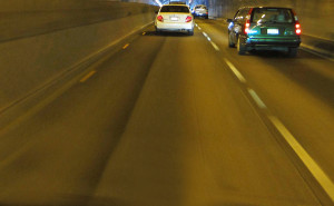 vehicles in a tunnel free way