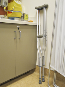 Crutches in a medical clinis