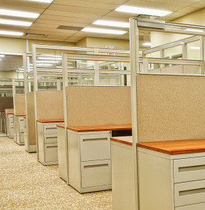 Empty office workstations.